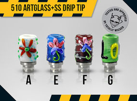 510 Artglass and Stainless Steel Wide Bore Mouthpiece